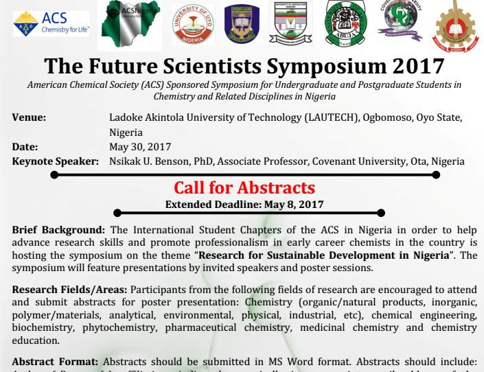 UPDATE: ACS Future Scientists Symposium  -Call for Abstracts-Extended